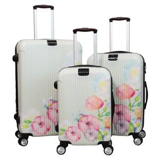 World Traveler Flower Bloom 3-piece Lightweight Hardside Spinner Luggage Set