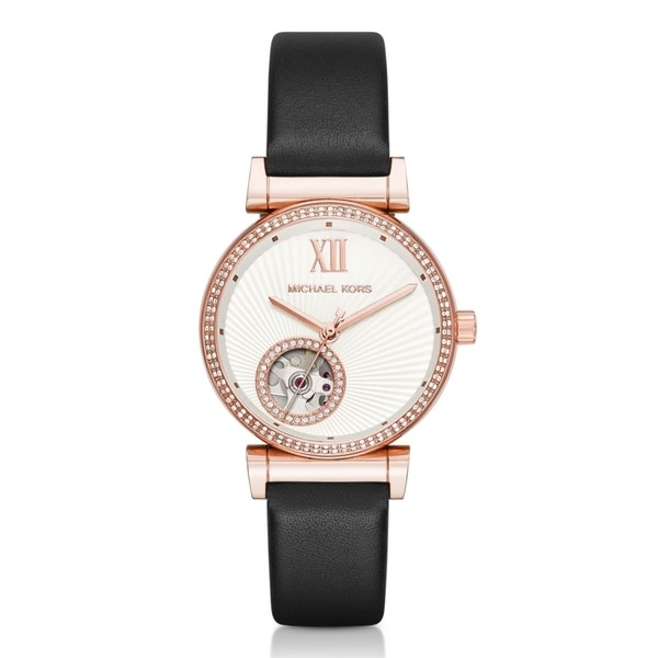 Michael Kors Women's MK9014 'Mini Catlin' Automatic Black Leather Watch