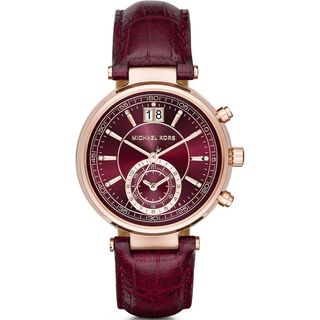 Michael Kors Women's MK2426 'Sawyer' Chronograph Crystal Red Leather Watch