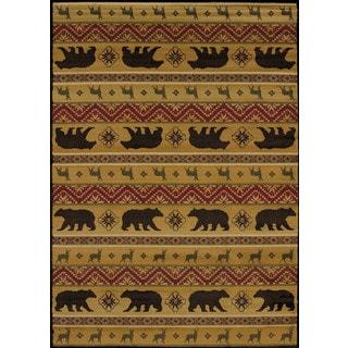 Harmony Bear and Deer Lodge Area Rug (5'3 x 7'2)