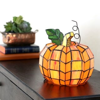 "9"" H Patch the Pumpkin Stained Glass Accent Lamp"