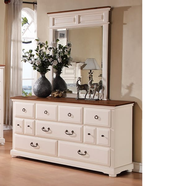 Prescott offwhite browm 7-drawer Dresser and Mirror
