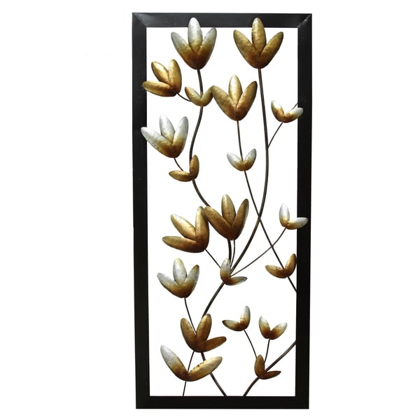 Stratton Home Decor Multi-Metallic Floral Panel Wall Decor