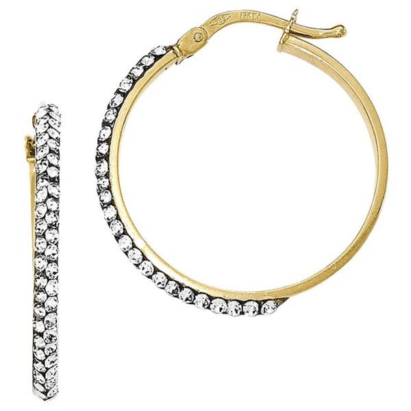 14k Yellow Gold Polished Austrian Crystal Hoop Earrings