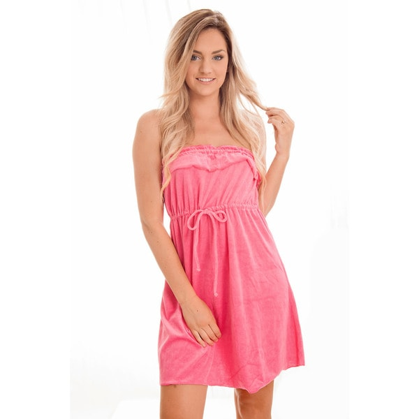 Dippin' Daisy's Pink Strapless Short Towel Coverup