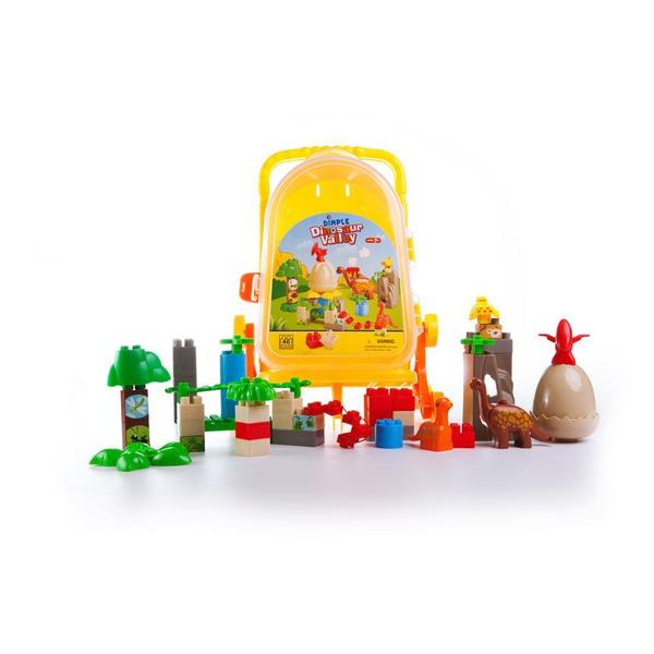 Dimple 46 Piece Dinosaur Valley Set Building Bricks with Rolling Storage Suitcase DC11855