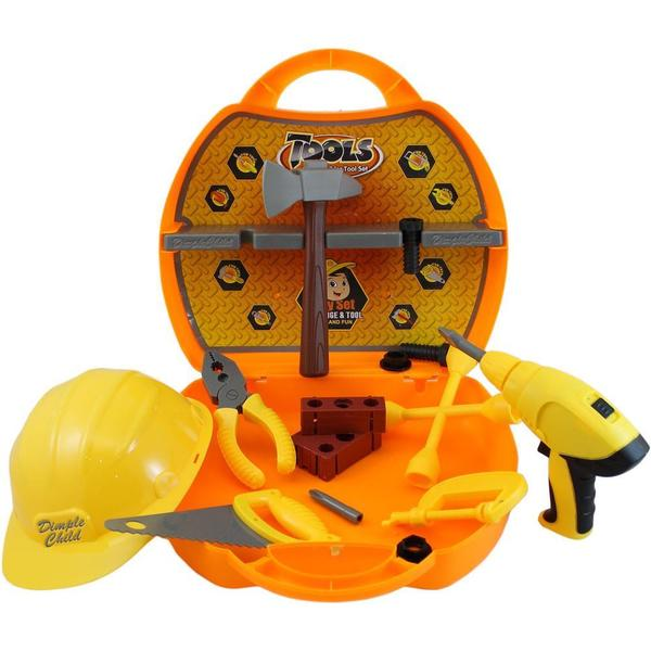 Dimple On-The-Go 21 Piece Deluxe Pretend and Play Tool Set with Carrying Case and Hard Hat DC11653