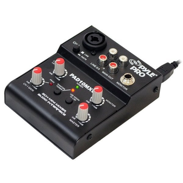 Pyle PAD10MXU 2 Channel Mini Mixer With USB Audio Interface