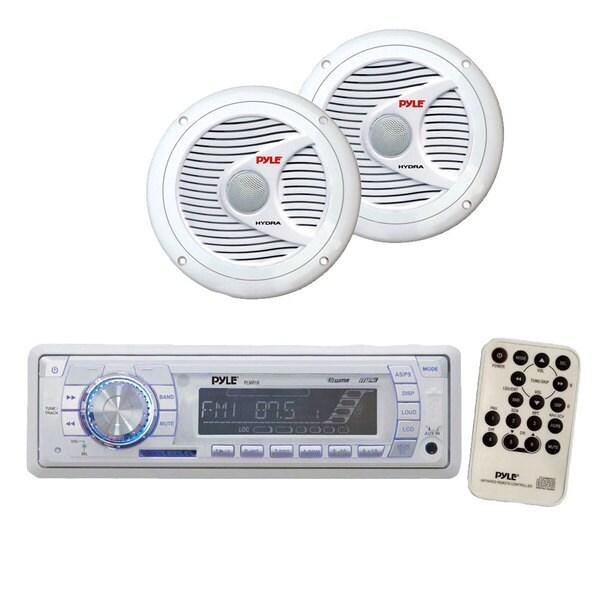 Pyle KTMRGS115 AM/FM-MPX PLL Tuning Radio w/SD/MMC andamp; USB + 150 Watts 6.5-inch 2 Way White Marine Speakers