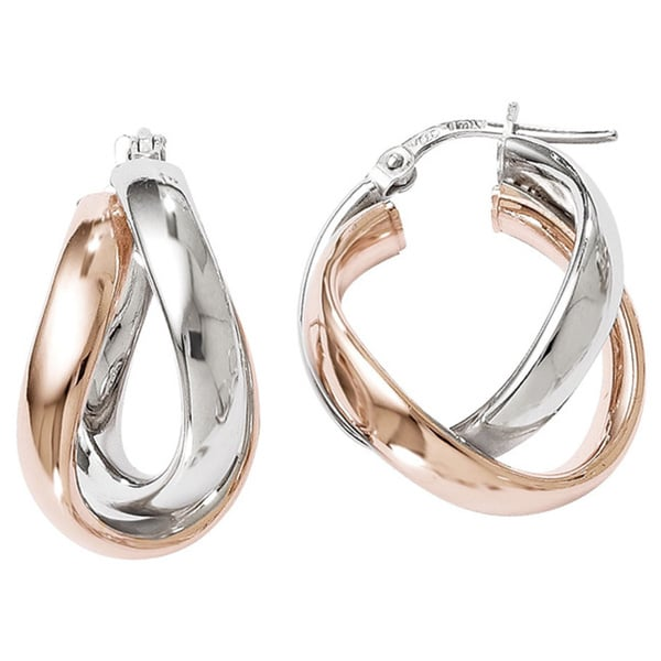 Sterling Silver Rose Goldplated Double Hoop Earrings