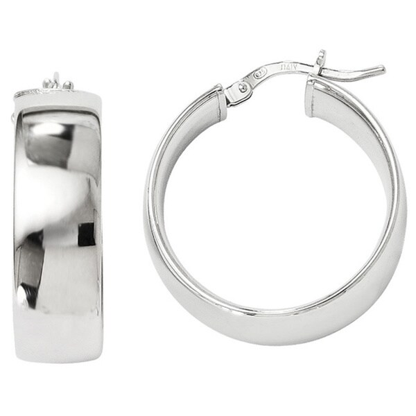Sterling Silver Polished 25mm Hinged Hoop Earrings