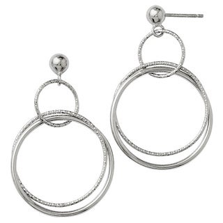 Sterling Silver Polished and Textured Post Dangle Hoop Earrings