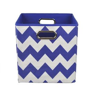 Bold Blue Chevron Folding Storage Bin