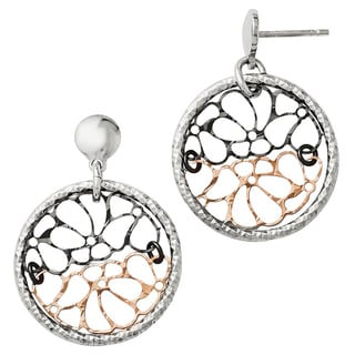 Sterling Silver Ruthenium and Rose-tone Flash-plated Earrings