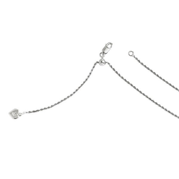 Sterling Silver 22-inch Adjustable Rope Chain