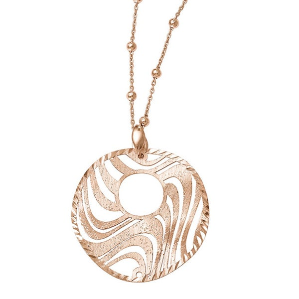 Sterling Silver Rose-tone 18k Rose Gold Flash-plated Necklace
