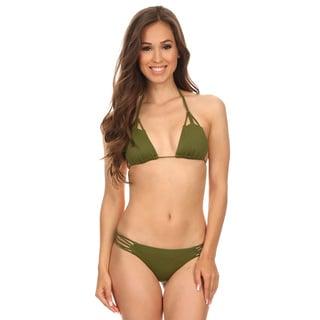 Dippin' Daisy's Olive Triangle Macrame Cheeky Bikini