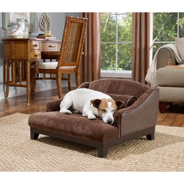Enchanted Home Pet Madison Brown Velvet Sofa Pet Bed