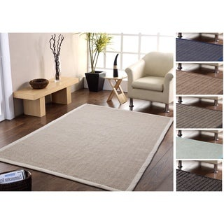 Handmade Natural Fiber Jute and Cotton Chevron Rug with Border 8' x 10'