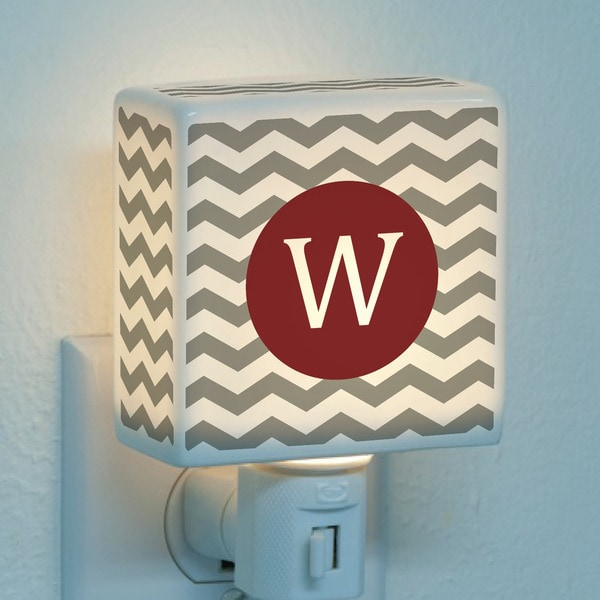 Chevron Initial Personalized Wine Red Night Light