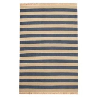 Herat Oriental Indo Hand-woven Gray/ Navy Striped Contemporary Kilim Wool Rug (4'6 x 6'8)