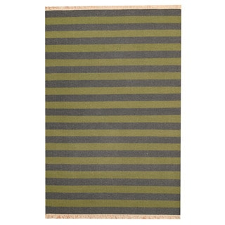 Herat Oriental Indo Hand-woven Green/ Charcoal Striped Contemporary Kilim Wool Rug (4'6 x 6'7)