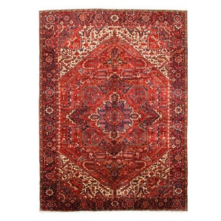 EORC X27605 Red Hand-knotted Wool Tabriz Rug (10'5 x 14'3)