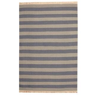 Herat Oriental Indo Hand-woven Gray/ Light Blue Striped Contemporary Kilim Wool Rug (4'7 x 6'10)