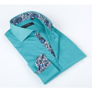 Coogi Luxe Men's Turqoise Solid Button-up with Paisley Design In Collar