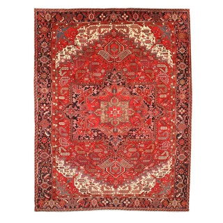 EORC X28982 Red Hand-knotted Wool Heriz Rug (10' 6 x 18' 8)
