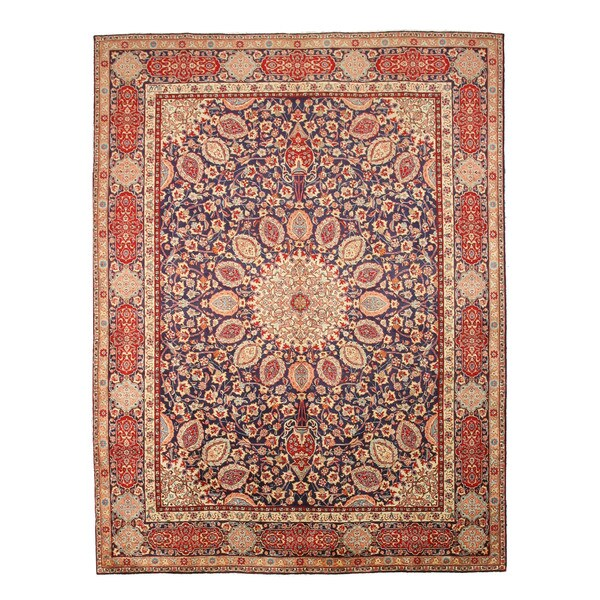 EORC X30944 Navy Hand-knotted Wool Tabriz Rug (9'11 x 13' 5)