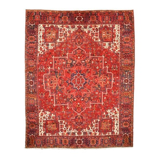 EORC X33198 Rust Hand-knotted Wool Heriz Rug (10'2 x 12'10)