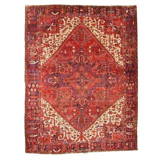 EORC X35233 Red Hand-knotted Wool Heriz Rug (10'1 x 12'8)