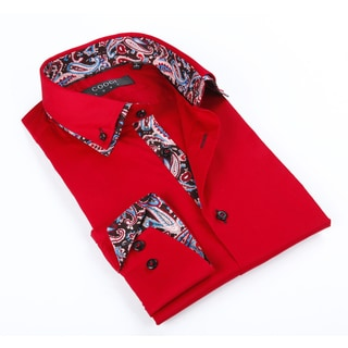 Coogi Luxe Men's Red Solid Button-up with Paisley Trim in Collar