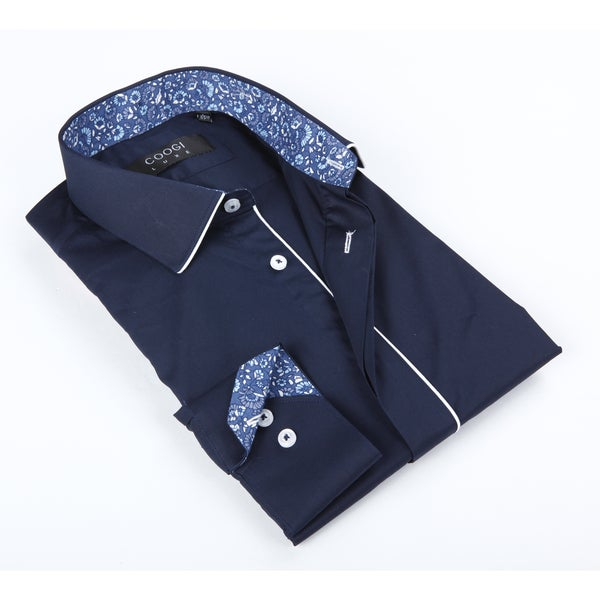 Coogi Luxe Men's Blue Solid with Floral Trim In Collar Button-up Dress Shirt