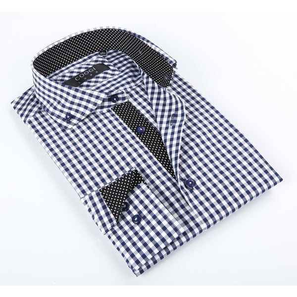 Coogi Luxe Men's Blue and White Checkered Shirt With Polka-dot Trim In Collar