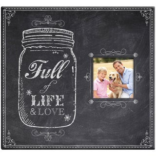 Full Of Life Mason Jar Post Bound Scrapbook W/Window 12inX12inChalkboard Look Finish