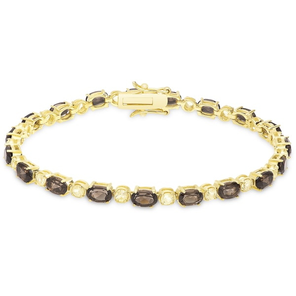Dolce Giavonna Gold over Sterling Silver Gemstone Tennis Bracelet 16209633