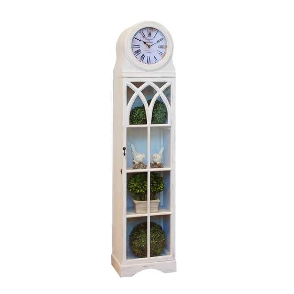 "Grandfather Clock Cabinet 76"" Tall White"