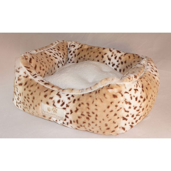 BNF Home 24-inch Printed Animal Faux Fur Pet Bed