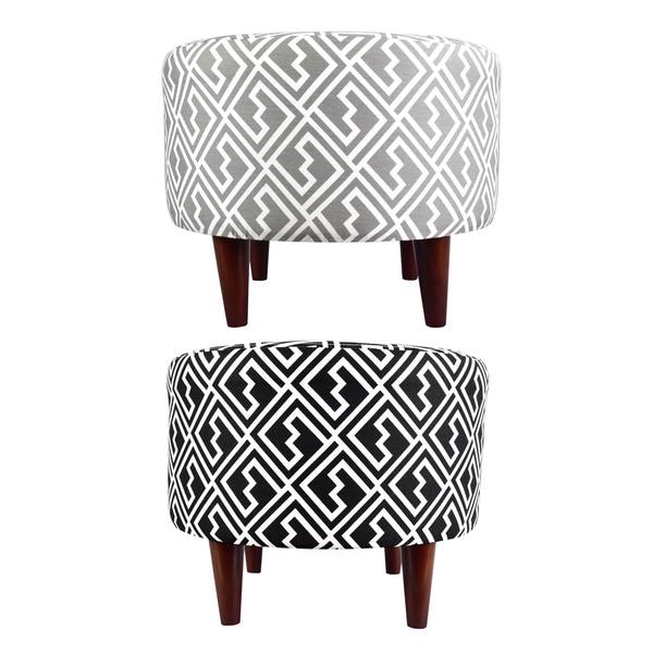 MJL Furniture Sophia Round Shakes Upholstered Ottoman