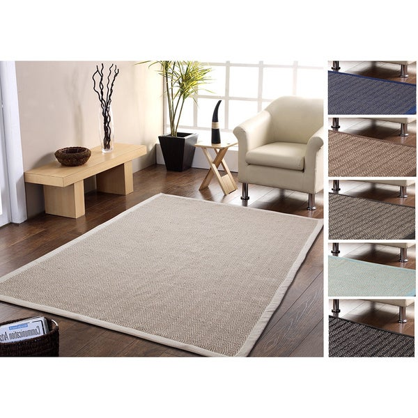 Eco Friendly-Handmade Natural Fiber Jute and Cotton Chevron Rug with Border (5 x 8)