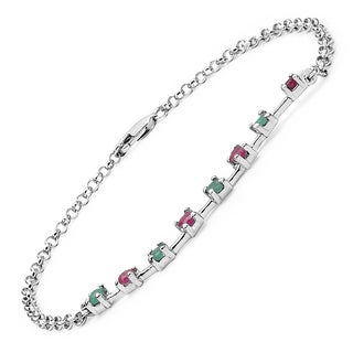 Malaika Sterling Silver 5/8ct Ruby and Emerald Bracelet