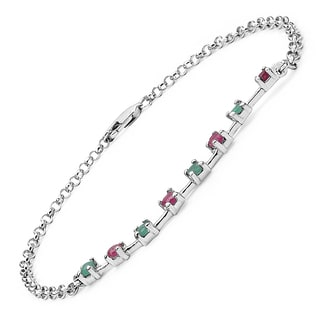 Olivia Leone Sterling Silver 5/8ct Ruby and Emerald Bracelet