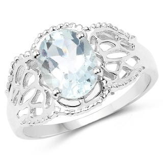 Olivia Leone Sterling Silver 1 1/2ct Aquamarine Ring
