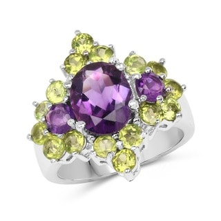 Olivia Leone Sterling Silver 4 1/4ct Amethyst and Peridot Ring