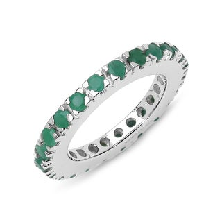 Malaika Sterling Silver 1 5/8ct Emerald Ring