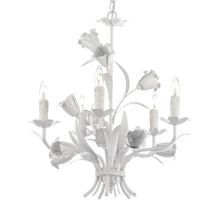 Wrought Iron Floral 5-light White Chandelier