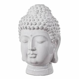Abbyson Livingston White Ceramic Buddha Figural Bust