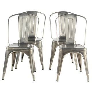 PoliVaz Metal Cafe Dining Chairs (Set of 4)